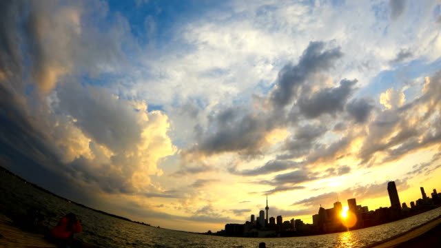 time-lapse :toronto skyline panorama at dusk - waterfront stock videos & royalty-free footage