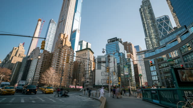 time-lapse: tourist and pedestrian crowded at broad way and columbus circle and central park corner in new york usa - columbus circle stock videos & royalty-free footage
