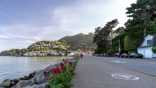 time-lapse tourist crowded at sausalito, resort town near san francisco, in california, usa - marin stock videos & royalty-free footage