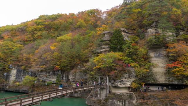 time-lapse: tourist crowded at tonohetsuri , fukushima japan - kyoto prefecture stock videos and b-roll footage