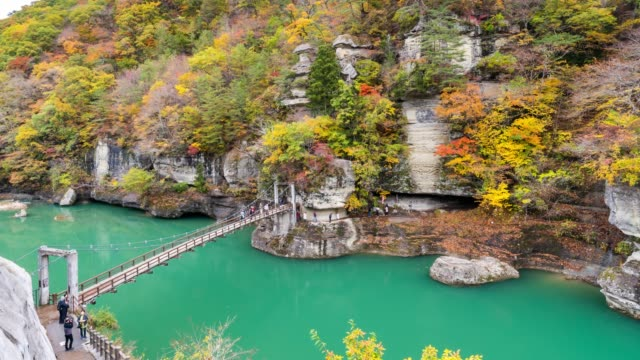 time-lapse: tourist crowded at tonohetsuri , fukushima japan - satoyama scenery stock videos & royalty-free footage