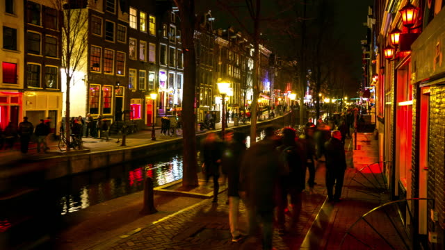 4K Time-lapse: Tourist crowed Amsterdam Red Light District night, Netherland