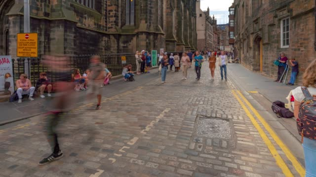 time-lapse: tourist pedestian crowded at royal mile in old town edinburgh scotland uk - royal mile stock videos and b-roll footage