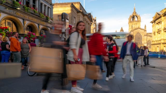 time-lapse: tourist pedestrian crowded at royal mile in old town edinburgh scotland uk - royal mile stock videos and b-roll footage