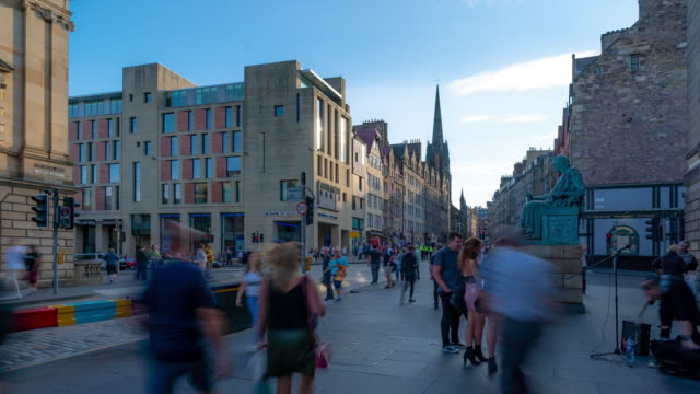 Time-lapse: Tourist Pedestrian crowded at Royal Mile in old town Edinburgh Scotland UK