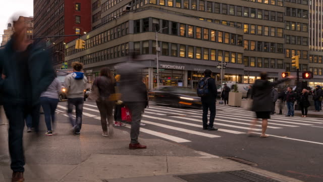 time-lapse: tourist pedestrian crowded at times square new york city at sunset night - zebra crossing stock videos & royalty-free footage