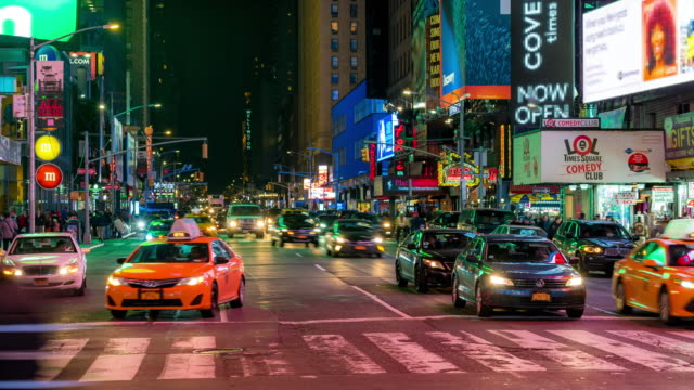 time-lapse: tourist pedestrian crowded at times square new york city at sunset night - broadway manhattan stock videos & royalty-free footage