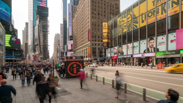time-lapse: tourist pedestrian crowded at times square new york city usa in sunny day - theatre district stock videos & royalty-free footage