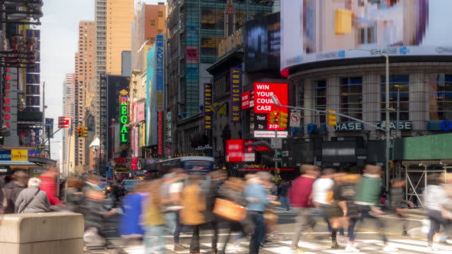 time-lapse: tourist pedestrian crowded at times square new york city usa in sunny day - broadway manhattan stock videos & royalty-free footage