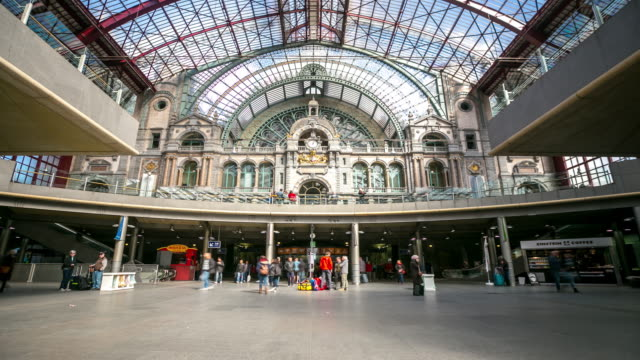 time-lapse: Tourist pedestrian travelling at Antwerp Central Station Belgium