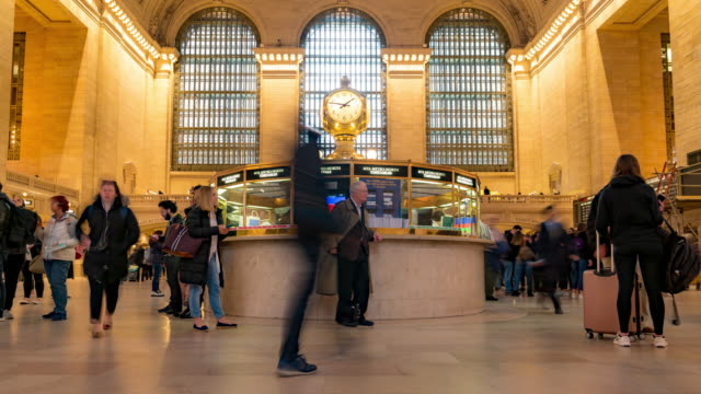 time-lapse: tourist pedestrians crowd in new york grand central train and metro station - grand central station manhattan stock videos & royalty-free footage