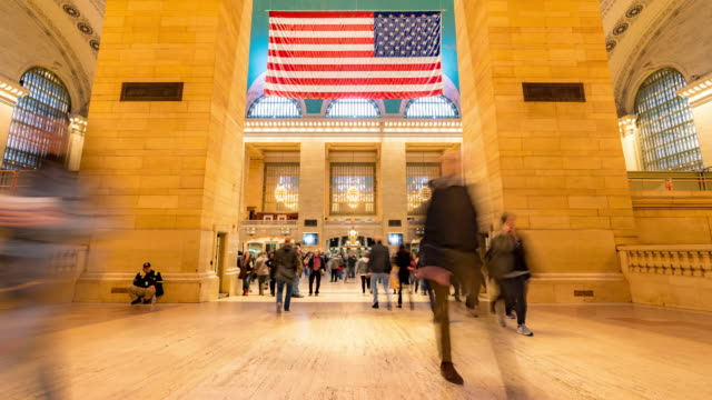 time-lapse: tourist pedestrians crowd in new york grand central train and metro station - underpass stock videos & royalty-free footage