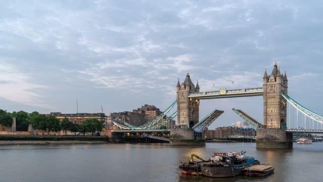 time-lapse: tower bridge in london england uk sunset night - tower of london stock videos & royalty-free footage