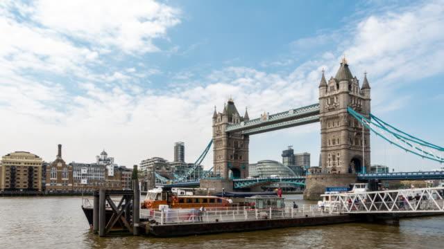 time-lapse: tower bridge in london england uk - bridge built structure stock videos & royalty-free footage