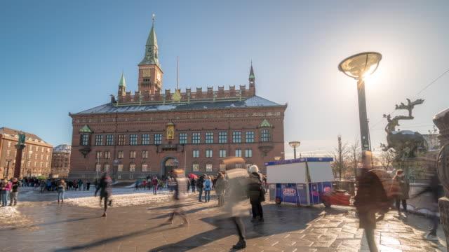 time-lapse town hall of copenhagen denmark kobenhavn - square composition stock videos & royalty-free footage