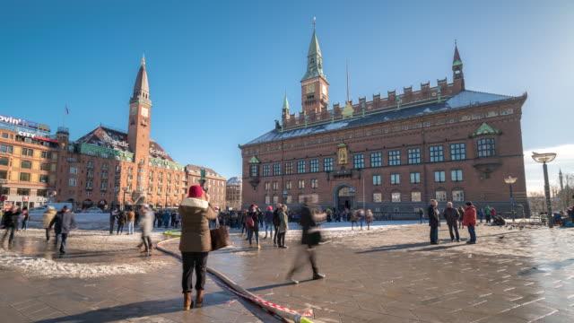 time-lapse town hall of copenhagen denmark kobenhavn - winter stock videos & royalty-free footage
