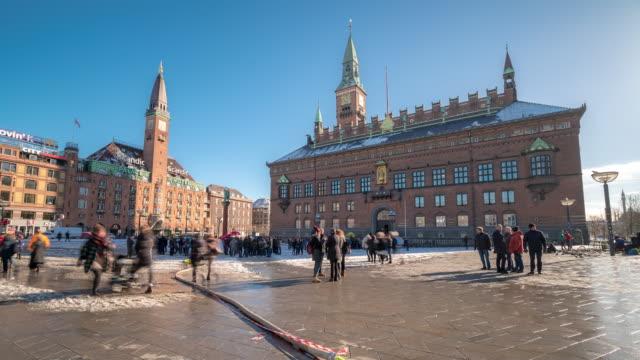 time-lapse town hall of copenhagen denmark kobenhavn - denmark stock videos & royalty-free footage