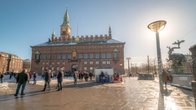 time-lapse town hall of copenhagen denmark kobenhavn - copenhagen stock videos and b-roll footage