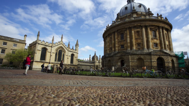 timelapse track near radcliffe camera, oxford, uk - oxford university stock videos and b-roll footage