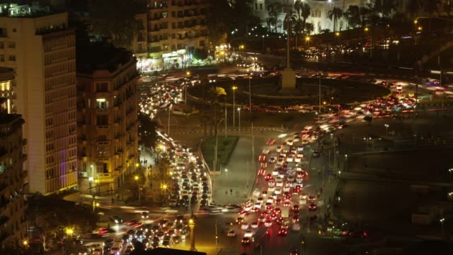 timelapse traffic at night in central cairo, egypt. - egypt stock videos & royalty-free footage