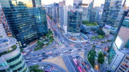 Timelapse Traffic at night in Gangnam City Seoul, South Korea
