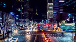 Timelapse Traffic at night in Seoul City, South Korea