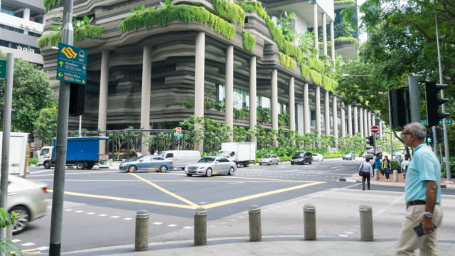 4K Time-lapse : Traffic busy at downtown Singapore