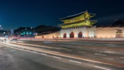 Timelapse traffic in front of Gyeongbokgung Palace at Seoul city in South Korea
