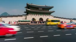 Timelapse traffic in front of Gyeongbokgung Palace in Seoul city, South Korea.