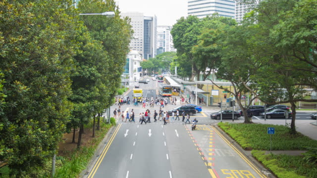4k timelapse: traffic  in singapore city. - orchard stock videos & royalty-free footage