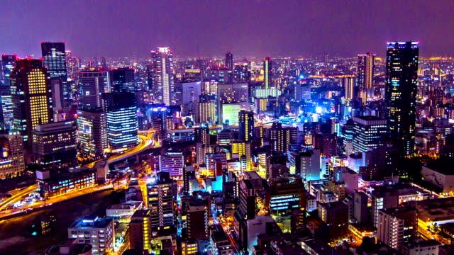 hd time-lapse : traffic light street osaka skyline, osaka-japan. - osaka stock videos and b-roll footage