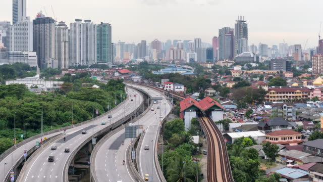 time-lapse traffic Malaysia city sun rise,Zoom out video 4k.
