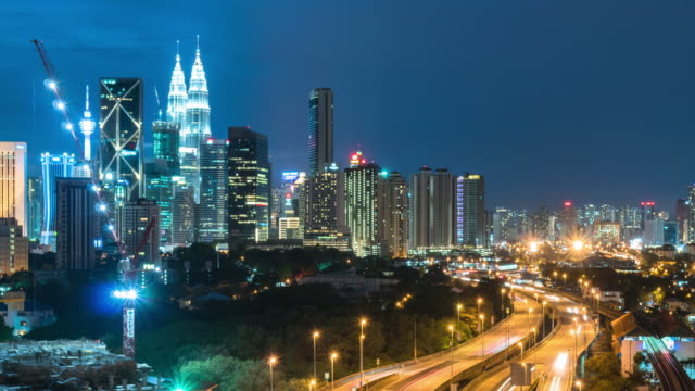 time-lapse traffic malaysia city twilight sky, panning right, video 4k. - petronas twin towers stock videos & royalty-free footage