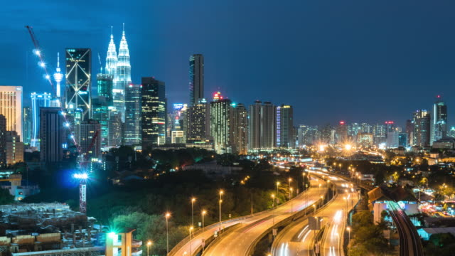 Time-Lapse Verkehr Malaysia Stadt, Zoom in video 4k.