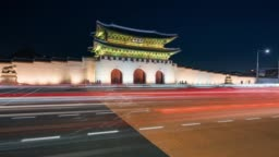 Timelapse traffic of car in front of Gyeongbokgung Palace