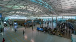 Timelapse traffic of people in Incheon International Airport at Incheon city near Seoul in South Korea