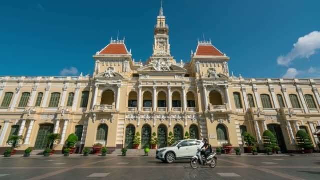 timelapse traffic on the road at front of ho chi minh city hall in ho chi minh city capital of vietnam - french culture stock videos & royalty-free footage