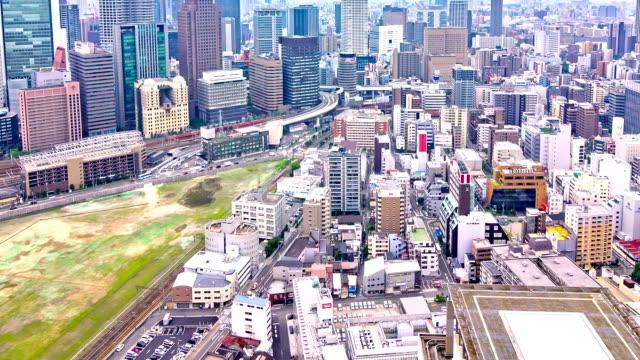 HD Time-lapse: Verkeer straat Skyline, Osaka-Japan.