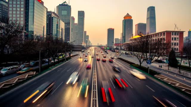 Time-Lapse traffic through city night, Beijing, China