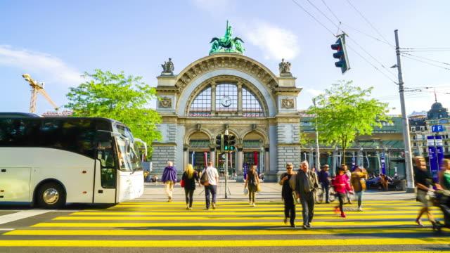 timelapse train station of Lucerne in Switzerland