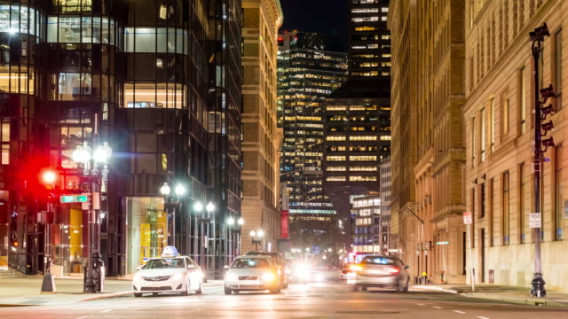 time-lapse: transportation and pedestrians at boston downtown ma usa - crosswalk sign stock videos & royalty-free footage