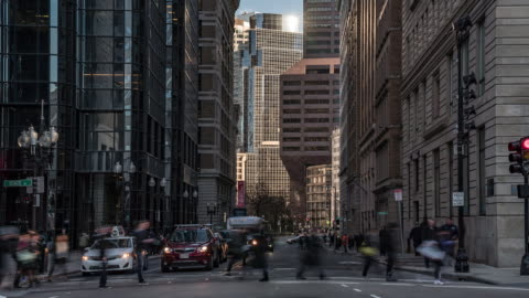 time-lapse: transportation and pedestrians at boston downtown ma usa - boston massachusetts stock videos & royalty-free footage