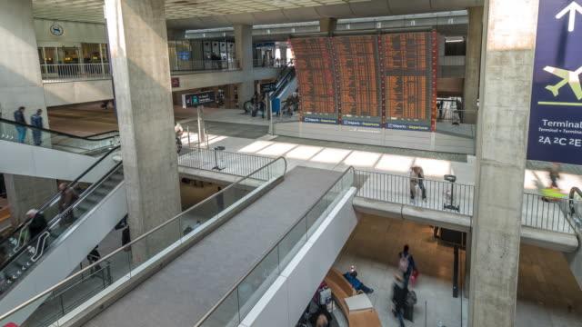 time-lapse: Traveler at CDG Airport train station Paris France
