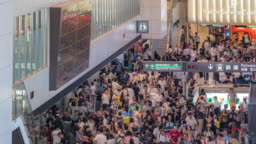 Time-lapse: Traveler crowd at Airport Arrival hall Terminal Narita Japan