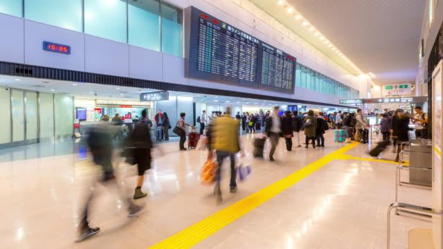4K time-lapse: Traveler crowd at Airport Arrival Terminal Narita Japan
