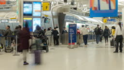 Time-lapse Traveler Crowd at Airport departure hall New York USA