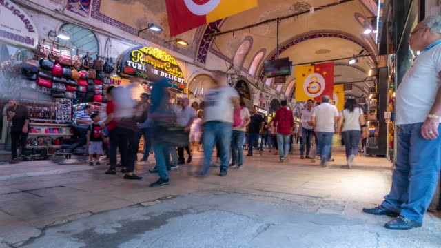 timelapse: traveler crowd at grand bazaar market in downtown istanbul turkey - grand bazaar istanbul stock videos & royalty-free footage