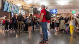 Timelapse: Traveler Crowd at Istanbul Turkey Departure and tranfer area