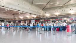 Timelapse: Traveler Crowd at Istanbul Turkey International Airport Departure Terminal