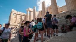 Time-lapse : Traveler Crowd at Parthenon in Athens, Greece, 4k Resolution.